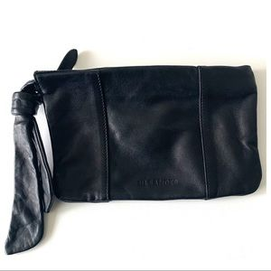 Jil Sander Leather Logo Stamped Tassel Clutch